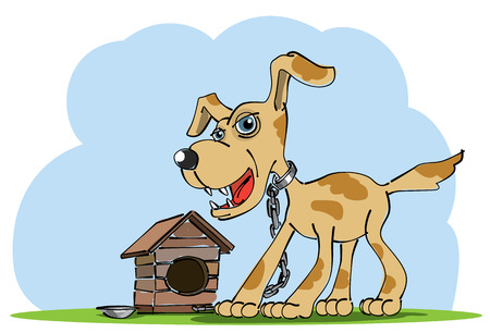 Watchdog stands near his house  Vector illustration Vector