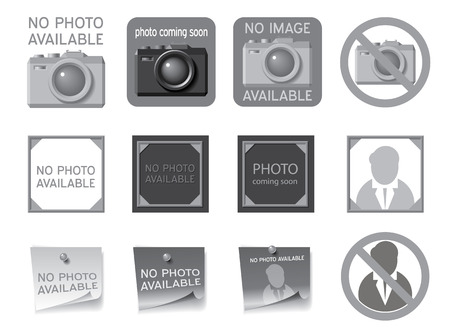 Icons to fill the seat of missing photos  Vector illustration