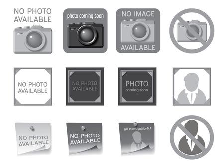 soon: Pictogrammen om de zetel van de ontbrekende foto's Vector illustratie vullen