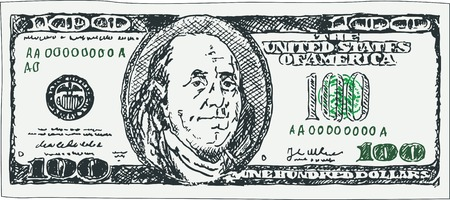 debt collection: Image of banknote of one hundred dollars depicted in the freehand style. Vector illustration