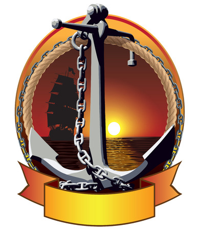 Anchor with the chain on the sea background. Vector illustration