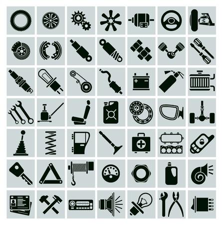 車の部品、ツール、アクセサリー。ベクトル アイコンを設定