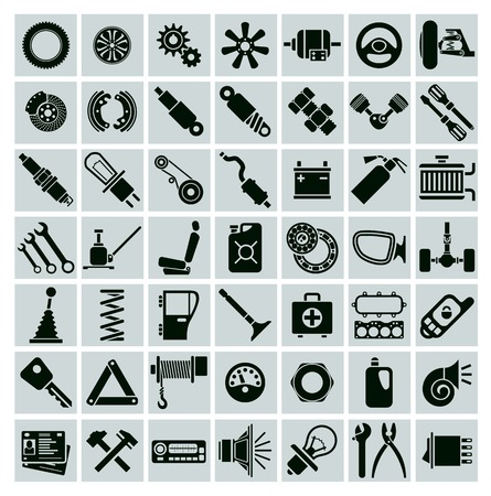 spare: Car parts, tools and accessories. Set of vector icons