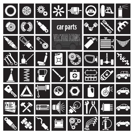 자동차 부품, 도구 및 액세서리. 벡터 아이콘 세트