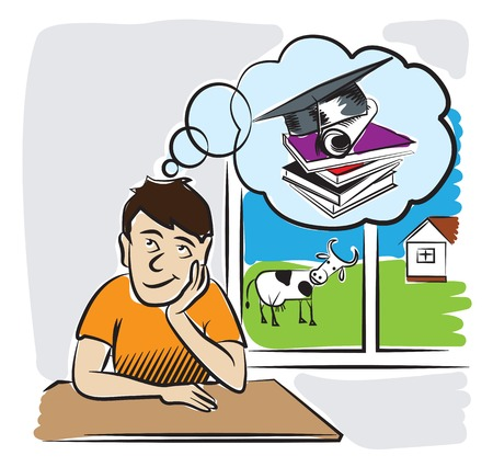 purposefulness: A young man living in the countryside dreaming of getting an education. Vector illustration Illustration