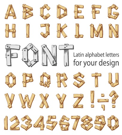 consisting: Font consisting of uppercase letters of the Latin alphabet and digits. Set of letters in freehand style with brown fill. Vector illustration on the white background Illustration