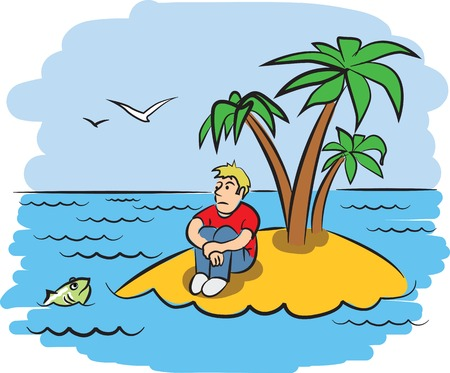 uninhabited: Sad young man on a desert island Illustration
