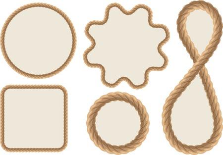 Frames made of ropes. Vector illustration