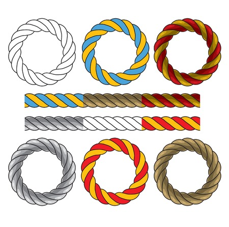 Round frames made of colored twisted cords and six elements for creating similar frames and borders. Vector illustration on the white background