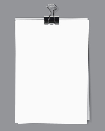 bulletin board: Blank sheets of paper fastened by a binder clip. Vector illustration