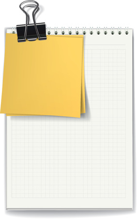 The jotter with blank sheets and yellow stickers fastened by a binder clip. Vector illustration