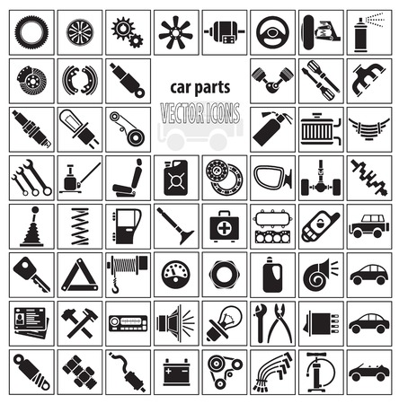 spare part: Car parts, tools and accessories. Set of vector icons