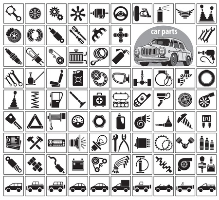 Car parts, tools and accessories. Eighty four icons and one image of a vintage car. Vector illustration on the white background Ilustração