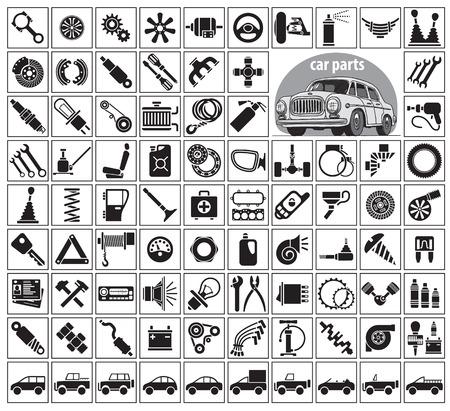 Las piezas del coche, herramientas y accesorios. Ochenta y cuatro iconos y una imagen de un coche de época. Ilustración del vector en el fondo blanco Ilustración de vector