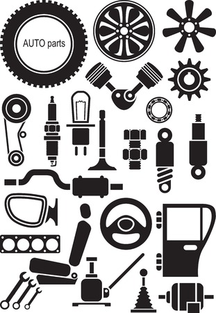 Auto parts. Set of vector signs Illustration