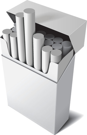 cigarette pack: Flip-top hard cigarette pack isolated on white background. Vector Illustration