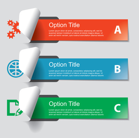 Set of infographics elements in the form of paper tapes and other flat shapes. For a variety of purposes. Vector illustration Vector