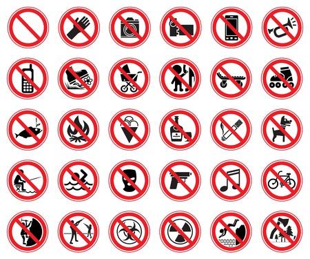 prohibido: Conjunto de treinta se�ales que proh�ban, para su uso en supermercados, reservas naturales, etc. Ilustraci�n vectorial Vectores