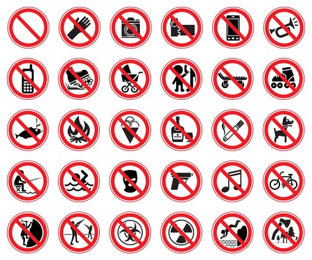 Set of thirty prohibiting signs for use in supermarkets, natural reserves, etc. Vector Illustration Ilustração