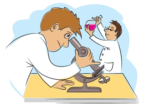 erudite: Two funny scientists at research work. Vector illustration