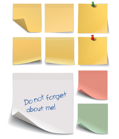 writing pad: Set of stickers for notes isolated on white background. Vector illustration