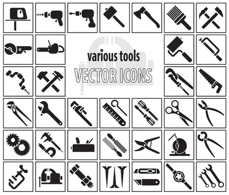 classical mechanics: Set of tool icons. Vector illustration Illustration