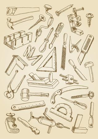 목공 작업 도구의 집합입니다. 자유형 드로잉 스타일 이미지. 세피아 배경에 벡터 일러스트 레이 션 일러스트