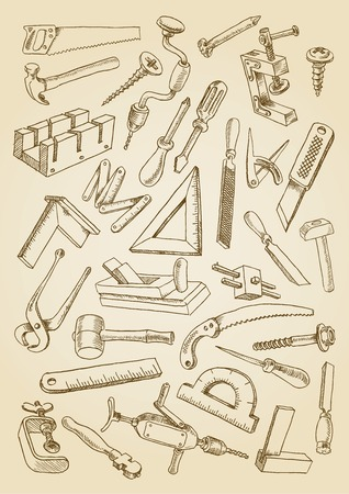 Set of tools for carpentry work. Images in the freehand drawing style. Vector Illustration on the sepia background