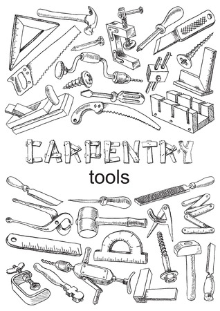 rasp: Set of tools for carpentry work. Images in the freehand drawing style. Vector illustration on the white background