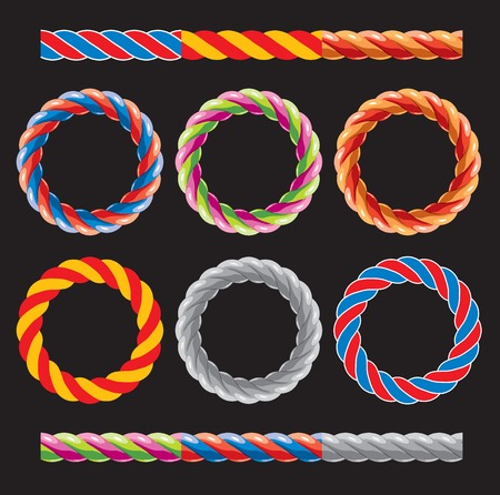spiral cord: Round frames made of colored twisted cords and six elements for creating similar frames and borders. Vector illustration on the black background Illustration