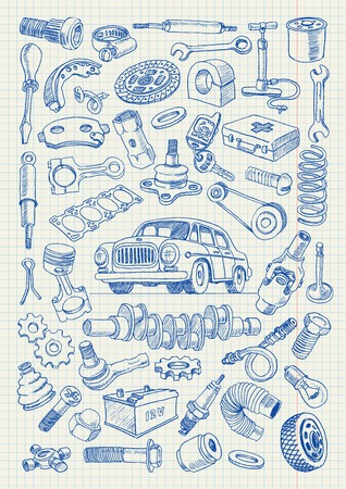 spare: Car parts in freehand drawing style. Set of vector illustrations on a sheet of a school notebook