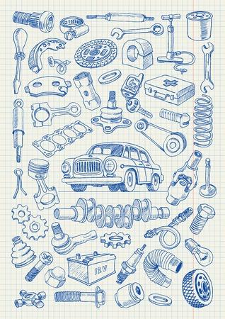 Pièces de voiture dans le style de dessin à main levée. Réglez d'illustrations vectorielles sur une feuille d'un cahier d'écolier Banque d'images - 33778495