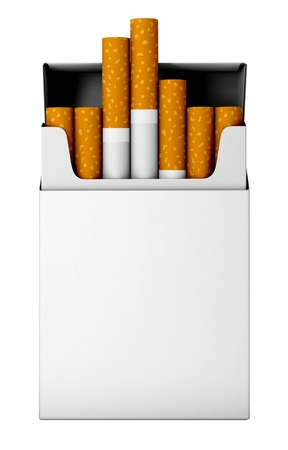 cigarette pack: Flip-top hard cigarette pack isolated on white background