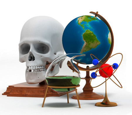 retort: Set of objects that symbolize knowledge and skills in such sciences as physics, chemistry, anatomy etc.  Stock Photo