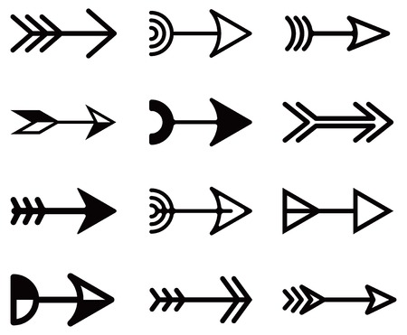 turning point: Set of universal decorative arrows. Vector illustration