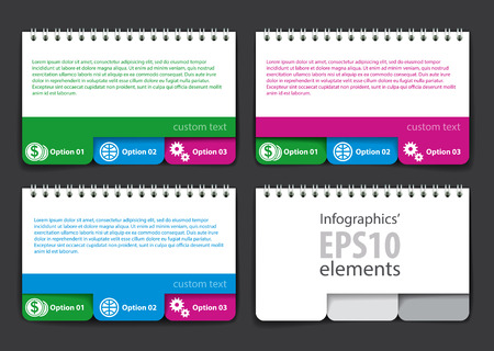 inkle: Set of infographics elements in the form of a jotter with tabs. For various purposes. Vector illustration Illustration