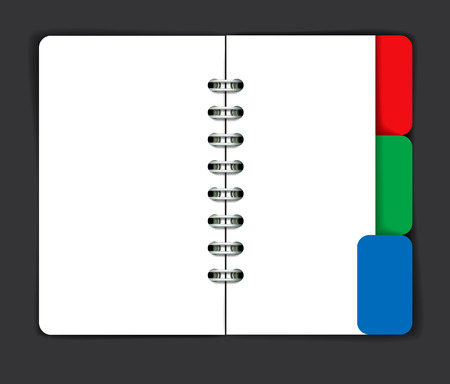 tabbed folder: Opened note pad with blank spread. Vector illustration