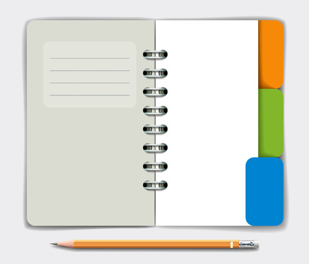 tabbed folder: Opened note pad and pencil. Vector illustration Illustration