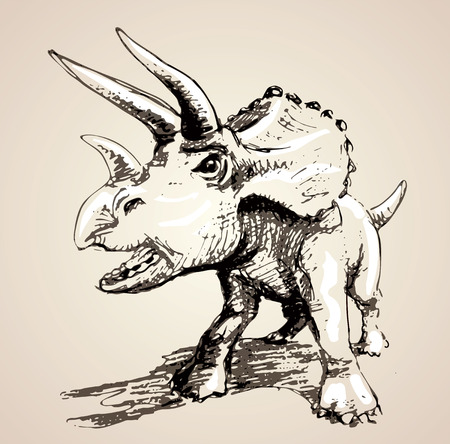 triceratops: Image of triceratops in freehand style. Vector illustration Illustration