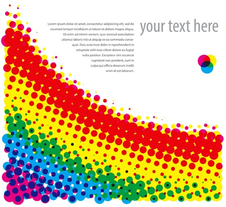 Rasterized (CMYK) halftone dotty background. Vector illustration