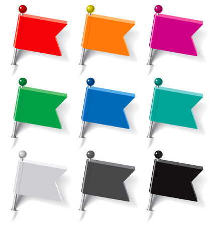 Set of pins in the form of multi-colored flags. Vector illustration Vector