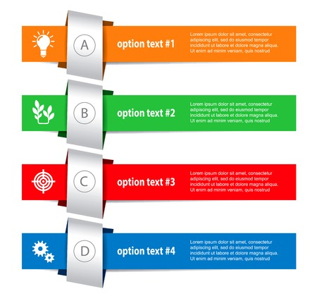 Set of infographics elements in the form of paper tapes for various purposes. Vector Illustration Vector