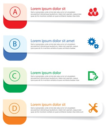 inkle: Set of infographics elements in the form of paper tapes for various purposes. Vector Illustration Illustration