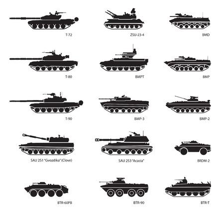 tanque de guerra: Imágenes estilizadas de vehículos blindados para la infografía militares. Ilustración vectorial