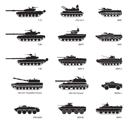 Stylized images of armored vehicles for military infographics. Vector illustration Çizim