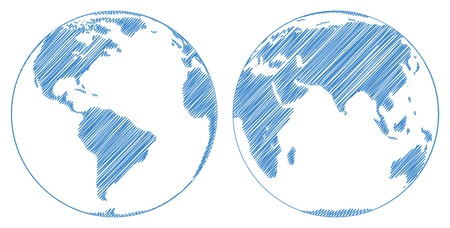 hemispheres: Stylized images of two hemispheres of the Earth. Vector illustration