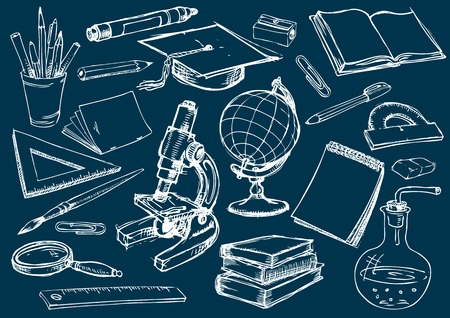Set of the school and education items. Drawing in the freehand style. Vector illustration