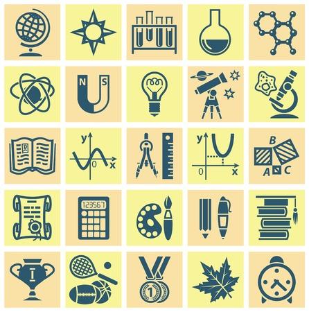 teorema: Conjunto de iconos de la web sobre un tema de la escolarizaci�n. Ilustraci�n vectorial
