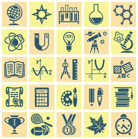 classbook: Set of web icons on a theme of schooling. Vector illustration Illustration