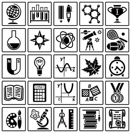 teorema: Conjunto de iconos de la web sobre un tema de la escolarización. Ilustración vectorial